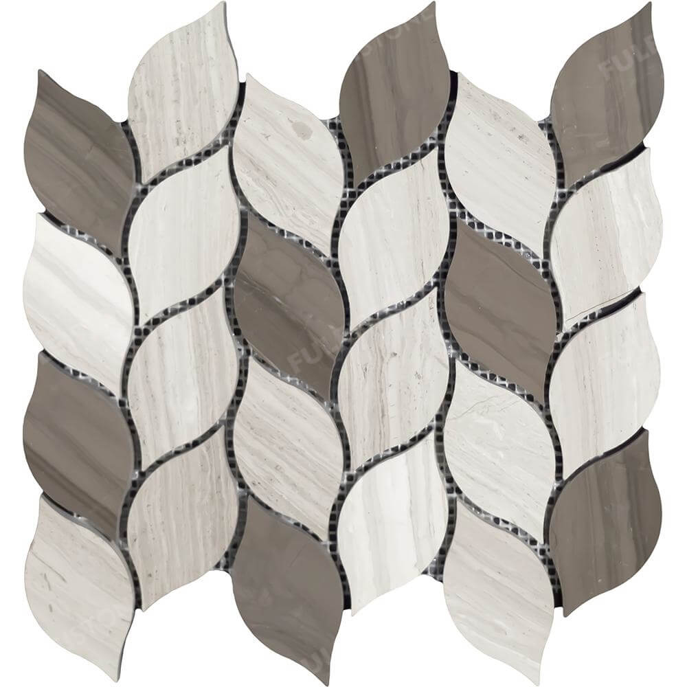 Willow Branch Wooden Athens Grey Marble Mosaic tile