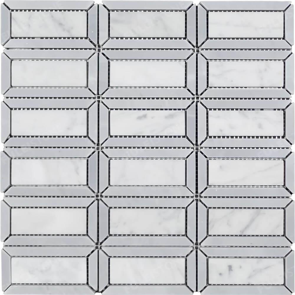 Windows Waterjet Mosaic Carrara Marble Mosaic Tile