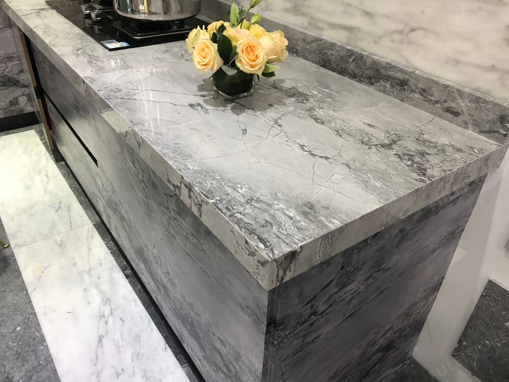 Super White Quartzite Countertop Edge