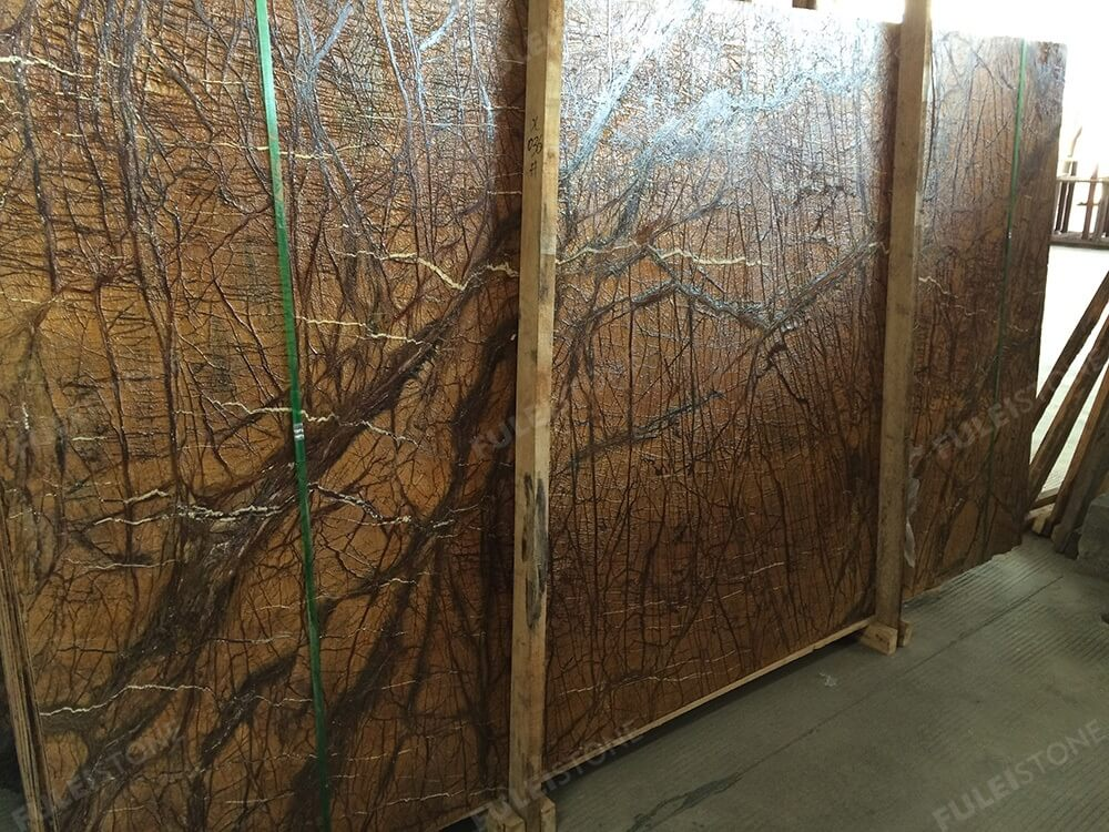 Leather Face Rainforest Brown Marble Slab