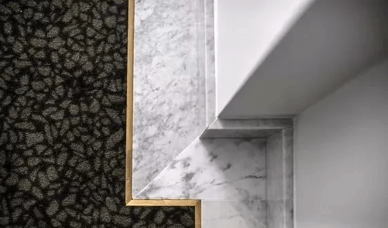 close up design of marble skirting