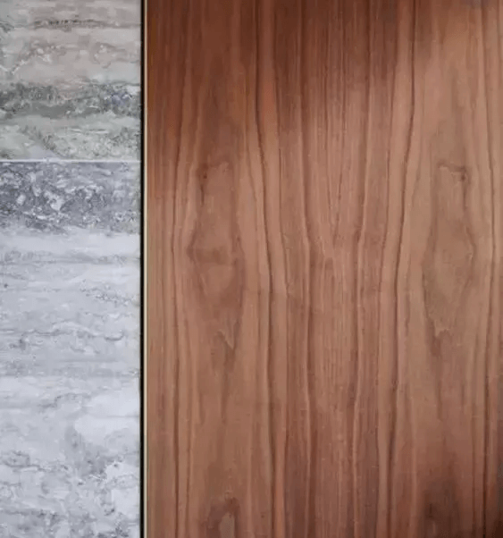 close up design of marble tile whit the wood wall