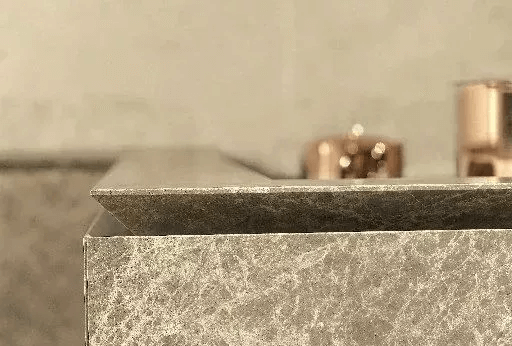 close up design of marble vanity top