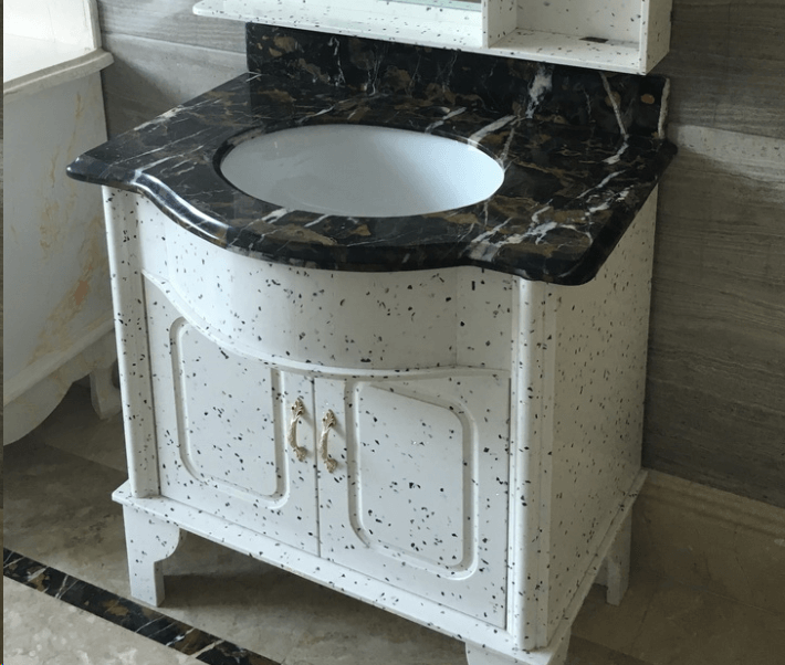 Cabinet with Black marble Countertop