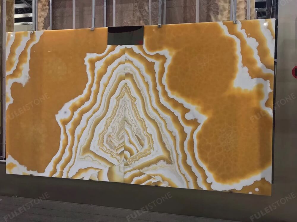 Bookmatch Polished Alabaster Onyx