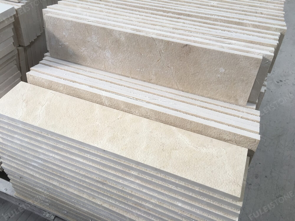 crema marfil marble stairs