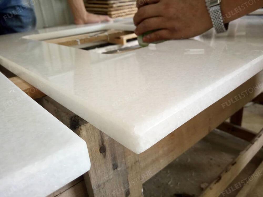 Crystal White Marble Vanity Top Eased Edges