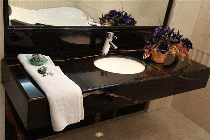 Sahara Noir Marble Vanity Tops With Sink