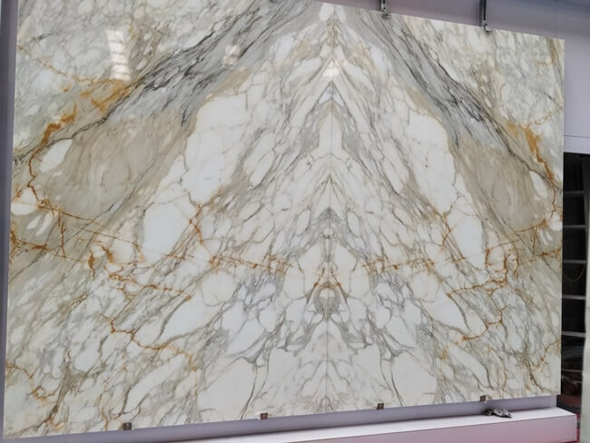 bookmatched calacatta gold marble