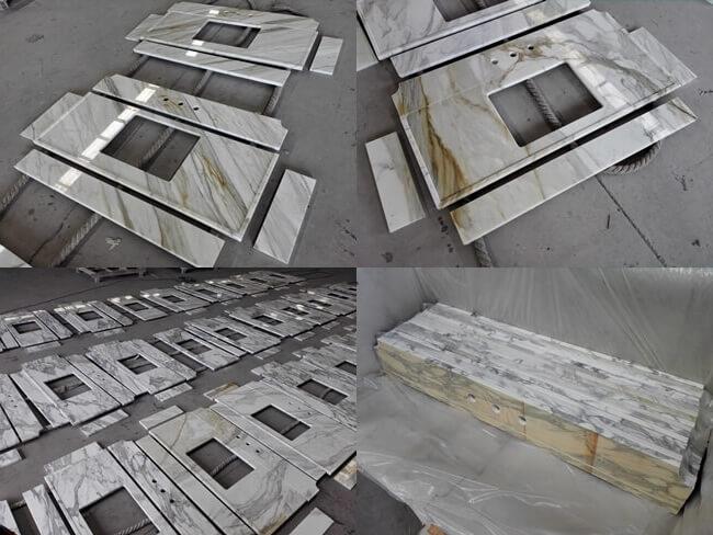 calacatta gold countertops and vanity tops in workshop