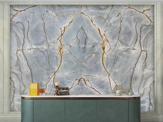 Blue Roma Quartzite bookmatched for wall