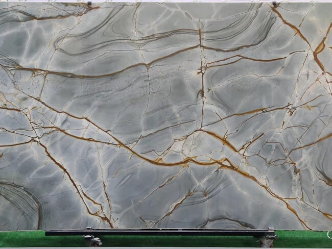 Blue Roma Quartzite slab with gold veins