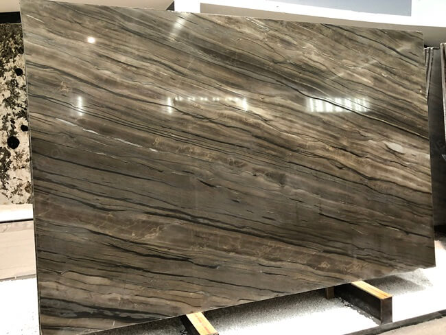 Sequoia Brown Marble Slabs with Polished Finish