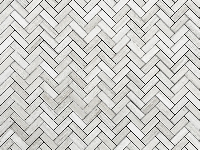 White Wood Marble Herringbone Mosaic Tiles (2)