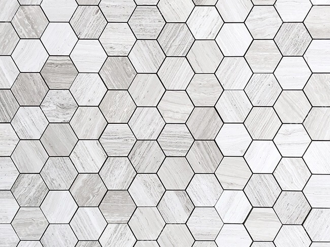 White Wood Marble Honeycomb Mosaic Tiles (1)