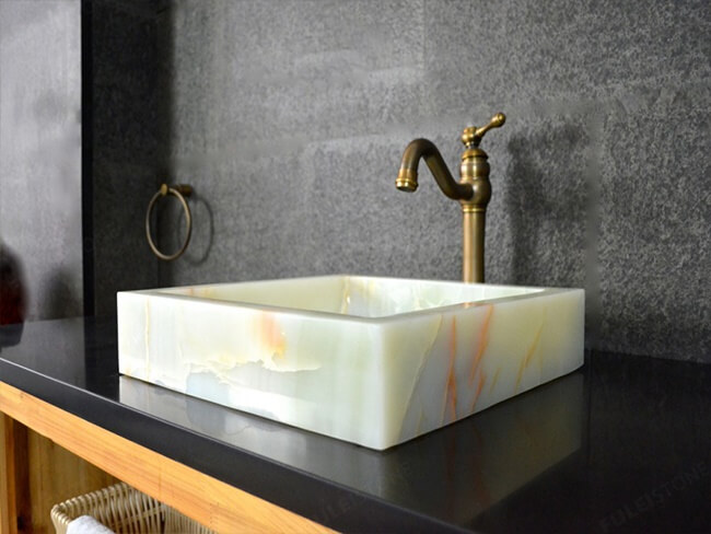 onyx sink in the bathroom
