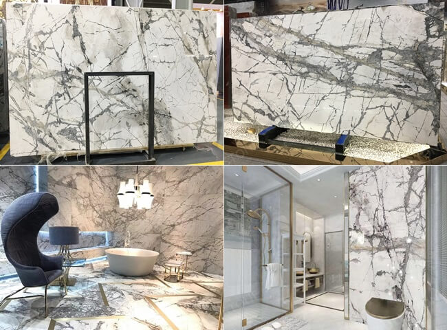 Invisible Grey Marble Slabs and Application