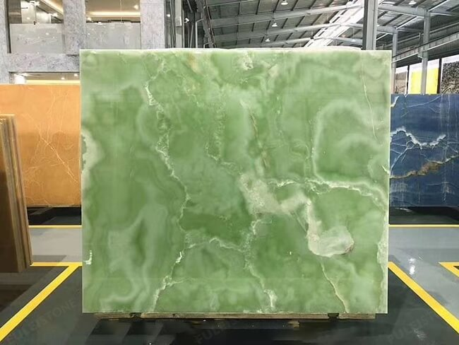 green onyx slab with white veins