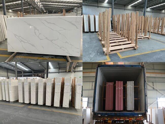 Calacatta White Quartz Slabs Packing and Loading