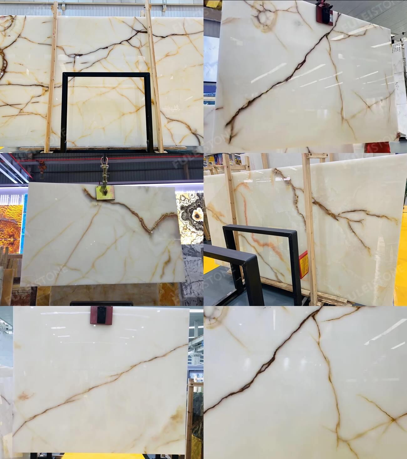 Red Line White Onyx Slab