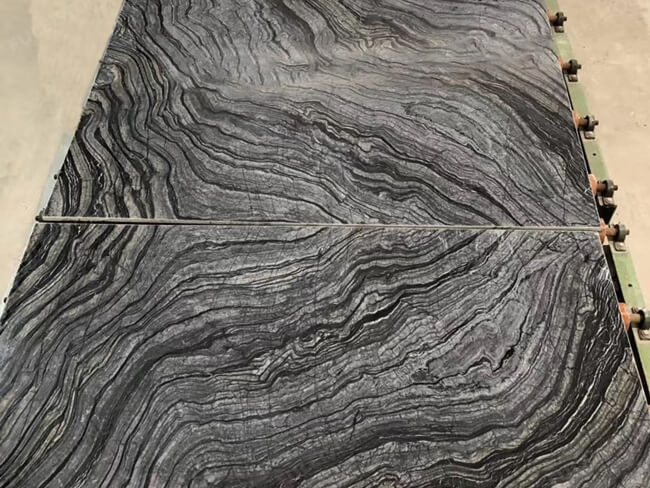 bookmatched silver wave marble slabs