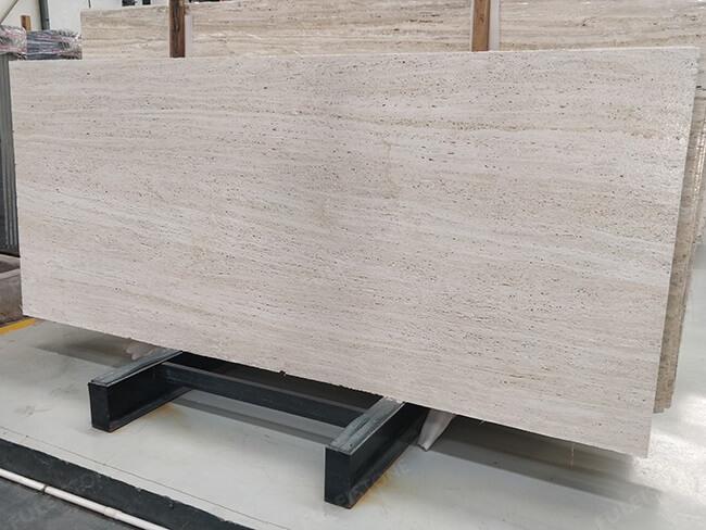 leather finishing white travertine slab