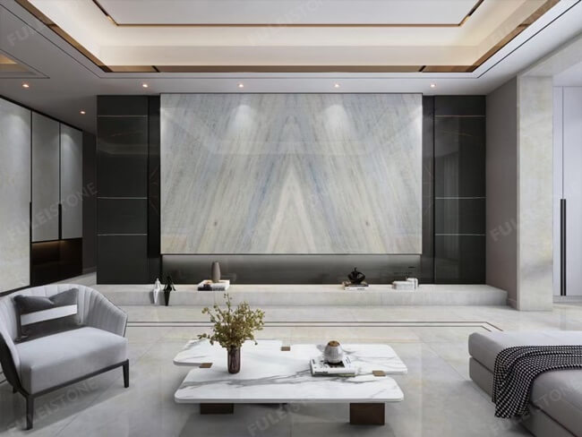 Calcite Azul Marble Bookmatched for Feature Wall (1)