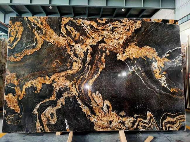 Black magma stone with fire phoenix design veins