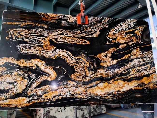 Black magma granite with dark dragon design