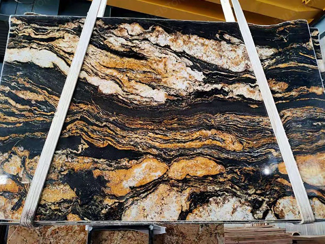 Black magma granite with big white cloudy veins