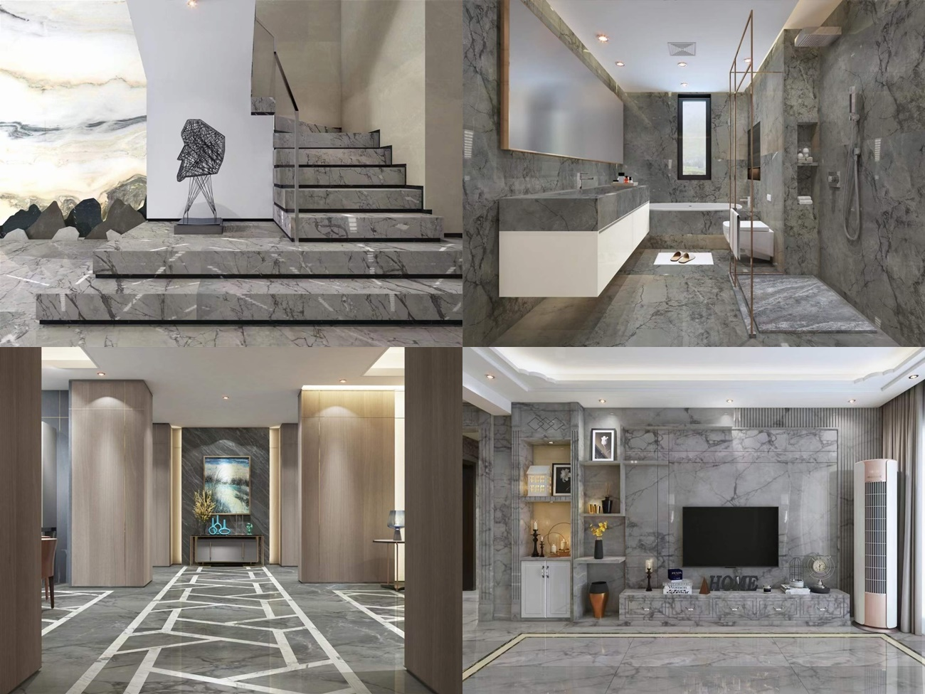 light china grey marble projects with big veins