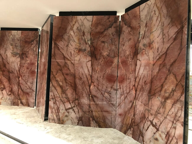 Polished Cosmopolitan pink quartzite slab (