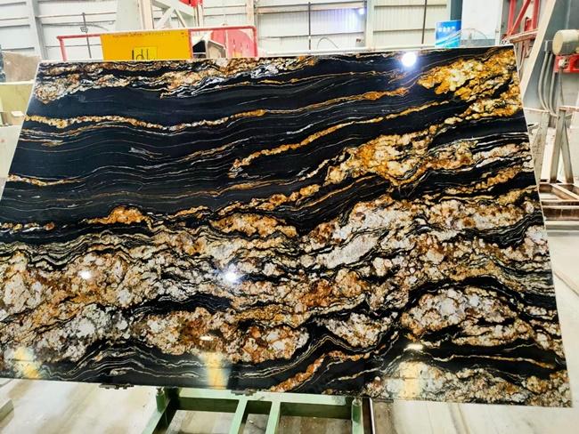 black magma stone on polishing