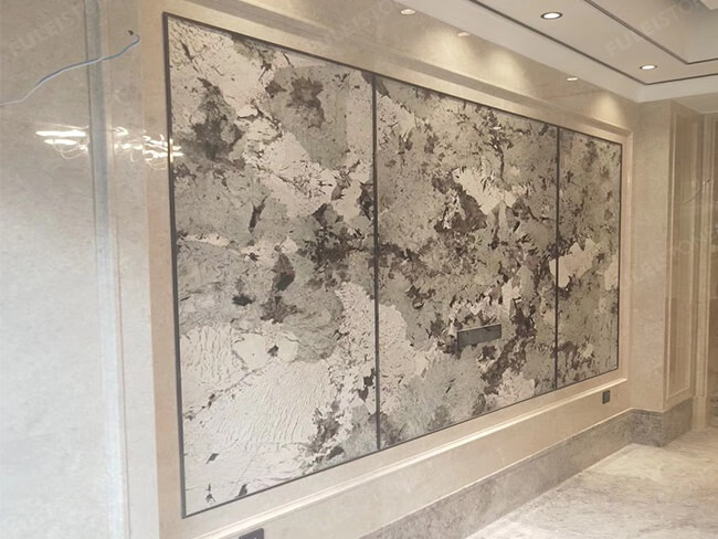 Bookmatched Alpinus granite slab for wall(1)