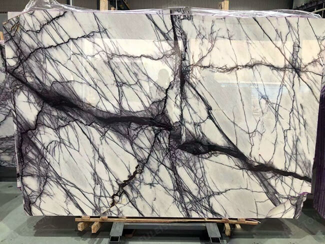 polished milas lilac marble slab