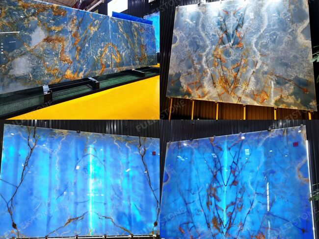 Book-Matched Blue Onyx Slabs for Background Decoration