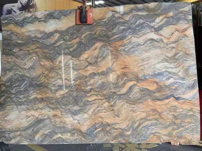 Blue Fusion Quartzite big slab with blue orange wave veins
