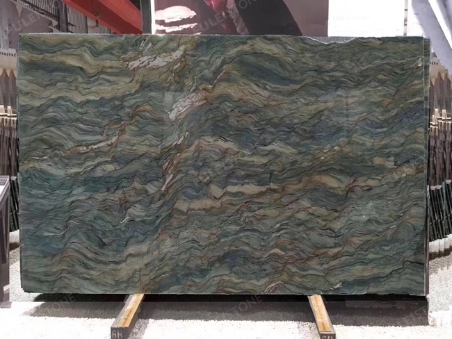 Blue Fusion quartzite slab with dark blue veins