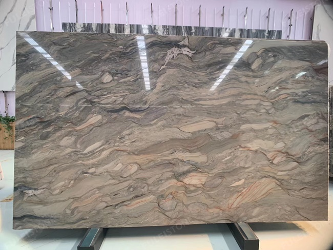 Blue Fusion quartzite slab with light veins