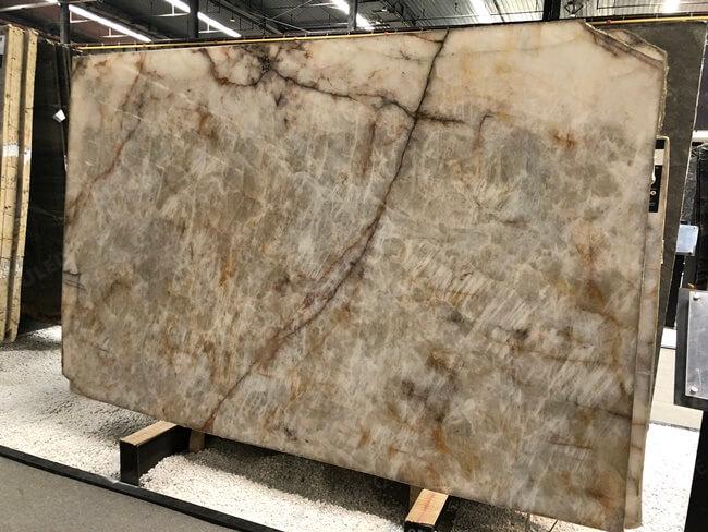 Natural Backlit Lumix Quartzite slab