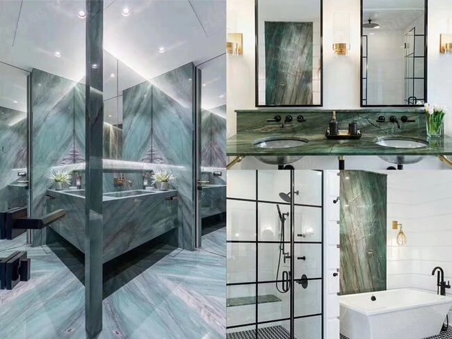 Project Case of Emerald Quartzite For Bathroom Wall