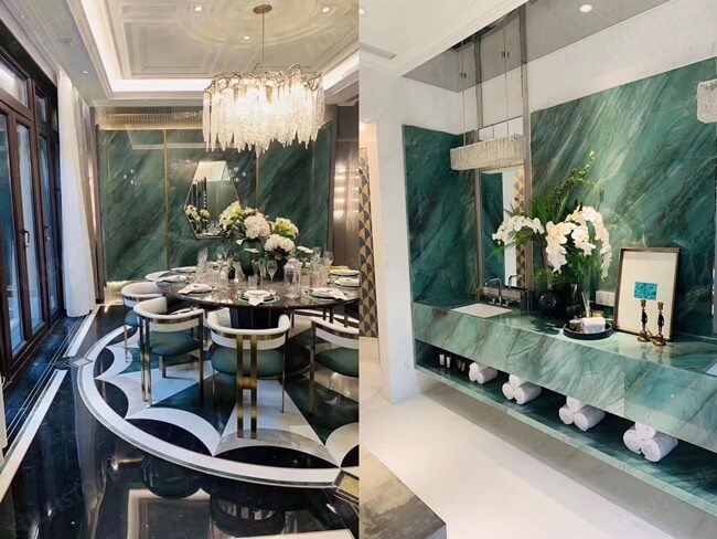 Project Case of Emerald Quartzite For Feature Wall and Counter