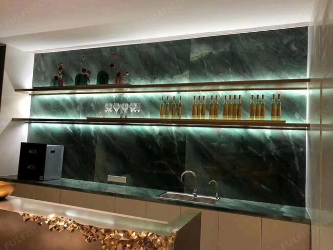Project Case of Emerald Quartzite For Wine Cabinet