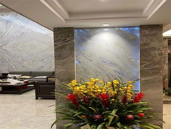 Bookmatched Iceberg Blue Quartzite slab for background wall