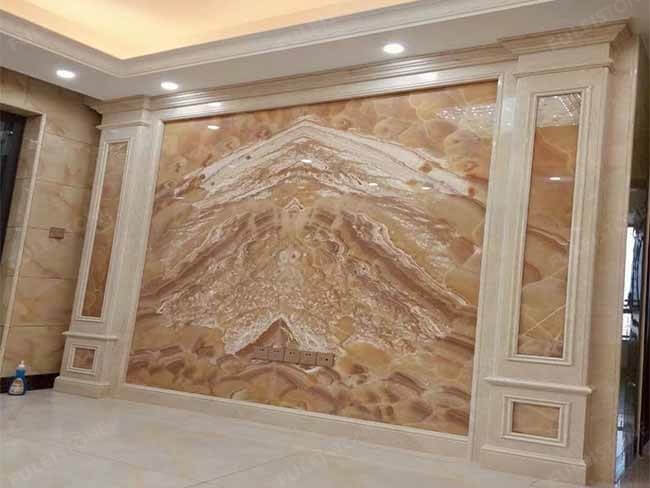 Bookmatched Orange Onyx Slab for background wall