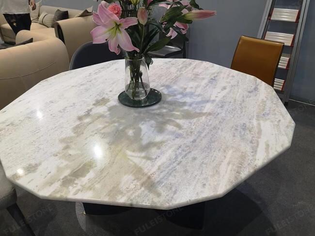 Polished Iceberg Blue Quartzite slab for table