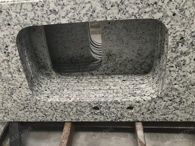 Bala White Granite Countertop sink cutout