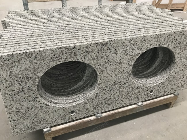 Bala White Granite Vanity Top with two sinks